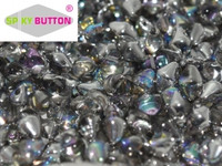 Spiky Button - Crystal Silver Rainbow