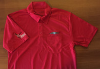 NOTE:  This Red Polyester Polo Shirt DOES NOT HAVE A POCKET (as shown).