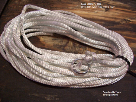 """Hy-Tower Nylon Rope Assembly - 3/8"""" x 50', with O ring (20-3876/1801387)"""