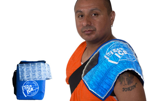 Pro Ice Shoulder Ice Kit Includes the Shoulder Ice Wrap, Extra Ice Inserts and the Portable, travel cooler bag pi860
