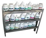 This three-shelf unit will hold 24 single-gallon containers or any variety of containers or accessories.