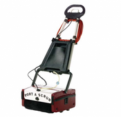 Minuteman: Port a Scrub P12 Multi Surface Scrubber, M12110 | The P12 is a compact and versatile cleaning machine excels on virtually any type of hard floor including vinyl, tile, hardwood, concrete, short nap carpeting, diamond plate, quarry tile, brick, slate, mosaic, studded rubber, granite, marble, rubber floors, escalators and people movers. Scrubs with two counter-rotating cylindrical brushes and picks up the dirty water in one pass