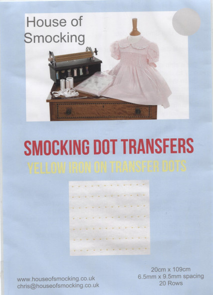 """Yellow Deighton's Smocking Dot iron On Transfers, Available in size 'H' 6.5 mm x 9.5 mm (1/4"""" x 3/8"""") Shows up on dark fabrics and really good on tartans, Do not hold the iron on the dots for too long as they will soak into your fabric, Two sheets in each pack"""