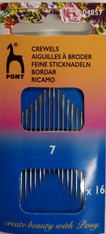 Pack of 16 No 7 Crewel needles by Pony - with gold eye