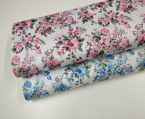 A beautiful quality 100% cotton floral fabric, With a Chelsea Garden design, Available in blue or pink flowers 148 cm wide, washable at 30 degrees, would make into beautiful dresses,