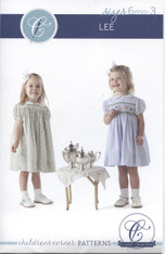Smocked and Un-smocked dress pattern Lee by Children's Corner, Sizes 6 month - 3 years and 4-8 years, Smocking design included, Dots not included smocking dots Order size H, Blue wide or Yellow H dots, order separately, Suggested fabrics, batiste, cotton, lawn or pique