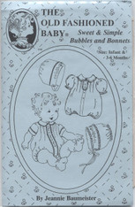 This Old Fashioned Baby pattern by Jeannie Baumeister is for Baby's Summer Clothes which are sure to delight.  This pattern includes a lovely little romper for a baby boy and a sweet romper with frills for a baby girl, Peter pan collar, Front opening for ease of changing, Cuff sleeves for a boy or frilled for a girl, Two bonnets one fora boy and one for a girl, Size Infant & 3-6 months