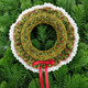 Ready to Smock Mini Christmas Wreath kit - Kit contains pre-pleated fabric, polystyrene ring, thread, needle, ribbon, step by step instructions and smocking design