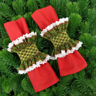 Ready to Smock Pair of Christmas Napkin rings - Kit contains, pre-pleated lace edged fabric, thread, needle, step by step instructions and smocking design - Available in red or green Christmas fabric