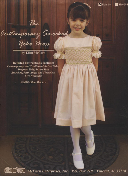 The Contemporary Smocked Yoke Dress by Ellen McCarn size 1-4 - pattern pieces need to be traced off