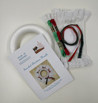 "Smocked 7"" Christmas Wreath Kit - contains pre-pleated fabric, polystyrene ring, thread, crewel needle and  ribbon"