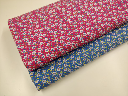 Baby cord 100% cotton 112 cm wide available in pink or blue floral - wash at 30 degrees - great for dresses or pinafores and more - see pinafore pattern Mary De by Children's Corner