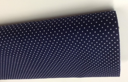 Sea Island 100% cotton lawn in navy blue with white polka dot 144 cm wide priced per metre