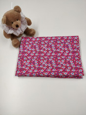 End of roll piece of baby corduroy in pink floral, 1.25 m x 112 cm, 100% cotton Ideal for pinafores and baby dresses, Wash at 30 degrees