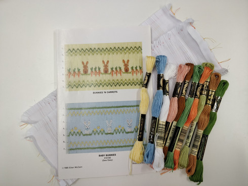 Two Ready to Smock inserts, Two designs by Ellen McCarn,  Available as a kit or just the plate, Kit Includes, Two Pre pleated pieces of fabric, DMC threads for Bunnies N Carrots and Baby Bunnies, No 7 Crewel Needle
