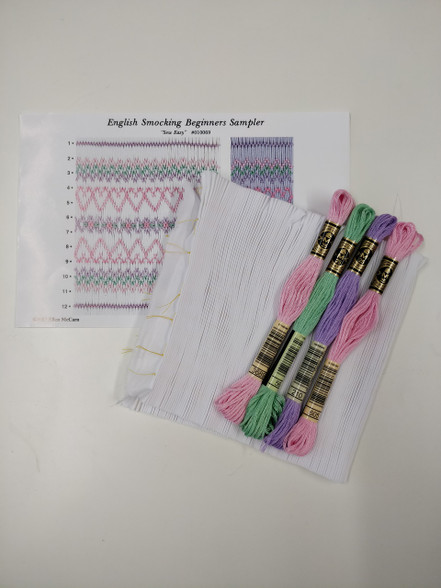 English Smocking Beginners Sampler Smocking Plate  by Ellen McCarn kit - kit includes Pre-pleated fabric, instruction plate DMC threads and needle