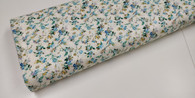 A lovely cream with turquoise flowers 100% cotton flannel fabric,  Would look superb made into dresses or blouses, Would work well with white imperial broadcloth smocked insert,  146cm wide,  Wash at 30 degrees  Priced per metre,  Telephone for part metres