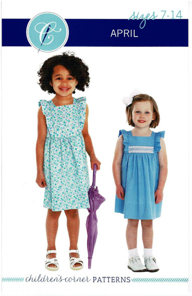 April by Children's Corner, Inspired by a vintage pinafore, The bodice is framed by gentle ruffles, Can be made with or without smocked insert, April has a lined bodice so can be worn on its own, Back bodice has a wrap around facing, Available in two sizes 6 month - 6 years and 7-14 years, Suitable for light to medium weight fabrics such as broadcloth, lawn, linen or pique