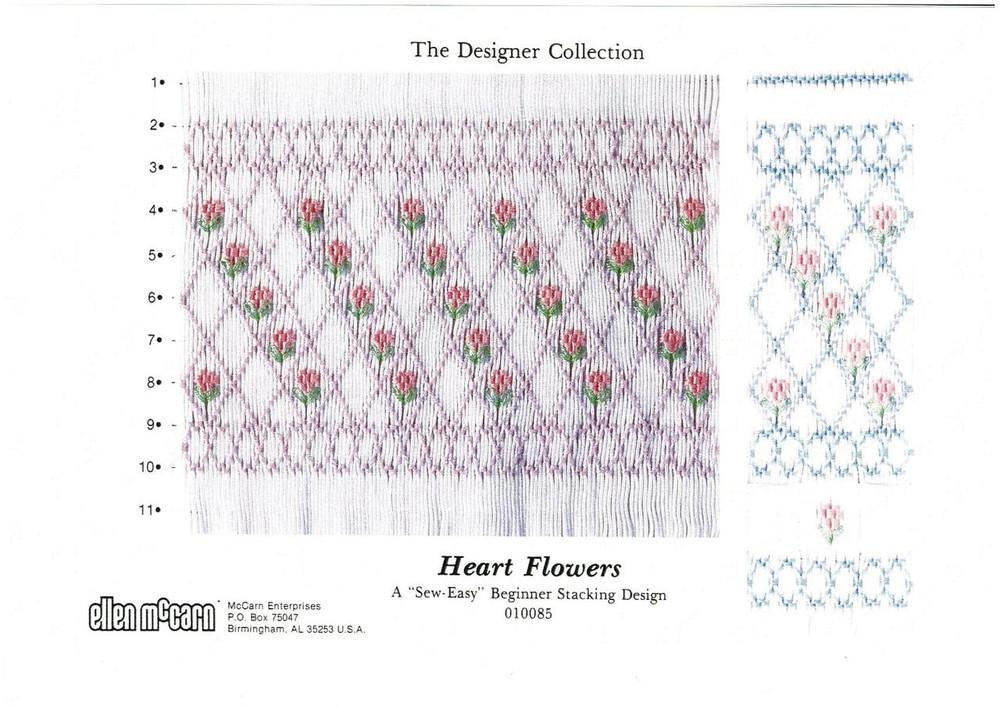 Heart Flowers Smocking plate by Ellen McCarn