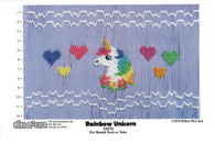 Rainbow Unicorn Smocking plate by Ellen McCarn, Suitable for round neck or yoke