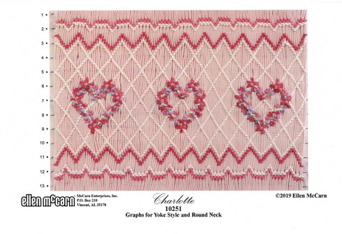 Charlotte Smocking plate by Ellen McCarn, A nice deep smocking plate , Would work well for an older girl Easy to make flowers using French knots, Graphs for Yoke style and Round Neck