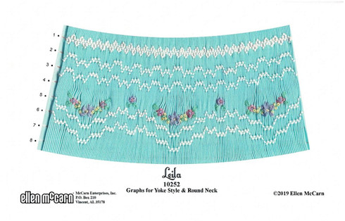 Leila Smocking plate by Ellen McCarn, A simple Smocking plate, Graphs for Yoke style and Round neck