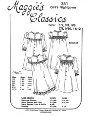 Girl's nightgown smocking pattern by Maggie's Classics, Sizes 1 and 2 years, Choose smocked or un-smocked Nightgown and Dressing gown, Experience needed and very basic instructions, Sizing is usually very good