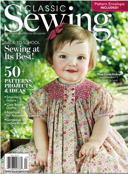 Classic Sewing Magazine Autumn 2019, Filled with so many projects, Smocking, Lace work Applique, Embroidery and more, Something for everyone, See the list from the contents page picture, Pattern included for A bishop dress, Applique dress, Boy's shirt and shorts, So many craft projects, A real bumper issue