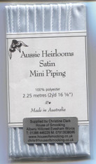 Satin Piping by Aussie Heirlooms A must for all your sewing projects as it gives that perfect finishing detail.  Use it on collars, cuffs and yokes for dresses and boy's smocked shirts or on your craft items. 100% polyester, 2.25 metre pack