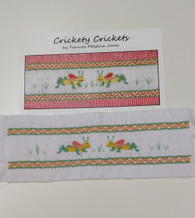 Crickety Crickets Smocking plate by Frances Messina Jones, along with a ready smocked insert using the design. Pleated and smocked on the full width of white imperial broadcloth Insert is 27 cm from smocked edge to smocked edge but can be spread a little Smocked in the suggested colours