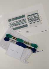 Smocking Plate kit, Tartan by Ellen McCarn, Kit includes, Smocking Plate, Pre-pleated fabric Embroidery threads 798 and 943, No 7 crewel needle