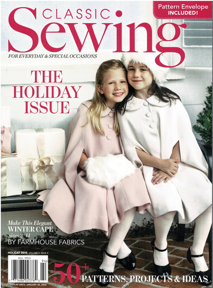 Classic Sewing Magazine Holiday issue 2019, So many great projects for Christmas, Lots of Smocking designs to follow, Beautiful dresses to make, Jackets to applique, Cushions to sew and button to dye, Sewing pattern for Cape and Lace blouse, Something for everyone in this issue,