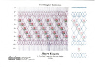 Ready to Smock Heart Flowers Smocking plate by Ellen McCarn Kit Kit includes, Smocking Plate, 11 Row pleated fabric in imperial broadcloth, Dmc x 4 colours, Crewel needle, A lovely plate with cable stitches in heart shaped flowers, A 'Sew Easy' Beginner Stacking design
