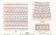 Read to Smock Susan Smocking Plate by Ellen McCarn kit,  Kit contains, Three designs, Square Yoke, Round neck, Sleeve or Bonnet, 13 row pre-pleated fabric in imperial broadcloth, DMC x four colours, Crewel needle,