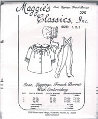 Coat, Leggings, French Bonnet with Embroidery, Pattern by Maggie's Classics, Experience needed as the instructions are quite poor Size 1,2, 3 in the one pattern
