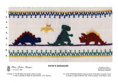 David's Dinosaurs Smocking Plate by Laura Jenkins Thompson, Pre-Loved but good condition