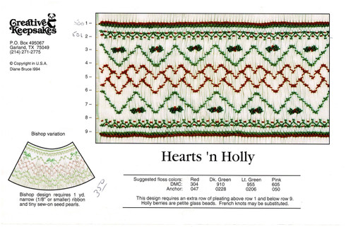 Hearts N Holly Smocking Plate by Creative Keepsakes, Pre-Loved but good condition