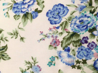 1.7 metre piece of Chelsea Garden design 1005 cotton fabric with blue print, 148 cm wide,  washable at 30 degrees