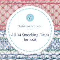 All 34 Smocking plates by Children's Corner, Lots of Easy to Smock plates, Easy picture smocking, Bishop patterns , Geometric, Bargello All the smocking plates assume you know how to smock, Written instructions only for most of the plates