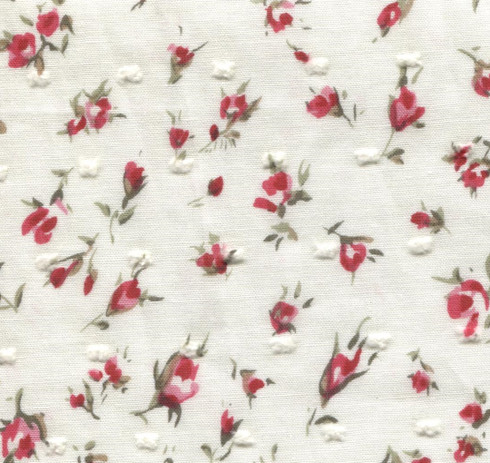 End of roll 1.83 metre piece of Cream with red roses cotton, 100% cotton, 1.83 metres x 147 cm, Wash at 30 degrees
