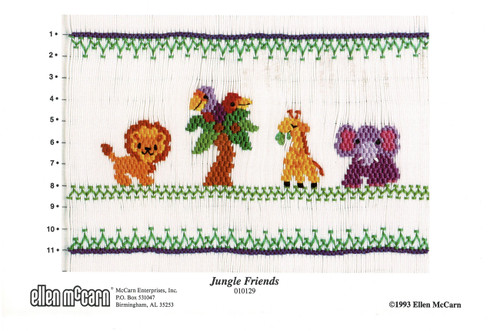 A brightly coloured Smocking plate by Ellen McCarn, Jungle Friends Picture smocking plate