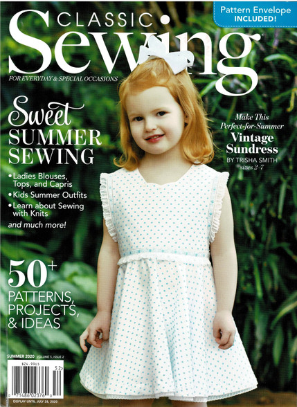 Classic Sewing magazine summer 2020 - In this issue there is a little bit of everything,  Choose from articles about getting children sewing, Heirloom sewing with a timeless class by Peggy Bradley, Heirloom lacy bonnet, Infant diaper set with downloadable cat machine embroidery, Beautiful vintage style dress in Swiss cotton pattern included  Exquisite handkerchiefs, Bishop style smocking plate, Lovely smocking design shown on the pattern Audrey by Children's Corner, Sharks smocking plate, Delightful should to waist smocking design, Ice Cream Cones downloadable machine embroidery design , Summer top for adults, And so many more wonderful ideas