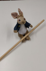 Wooden doweling, Use the wooden doweling to roll your fabric onto before pleating, Rabbit not included