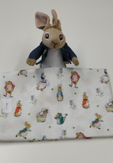 End of roll piece of Peter Rabbit Characters, 85 cm x 114 cm wide, 100% cotton Wash at 30 degrees, This fabric is under license, Please do not make up to sell on