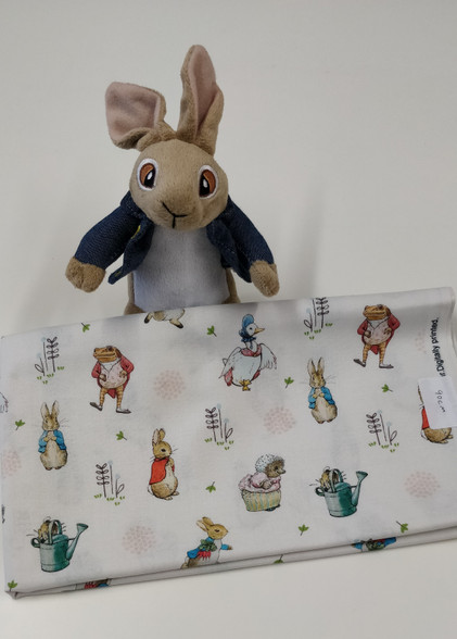 End of roll piece of Peter Rabbit Characters, 90 cm x 114 cm wide, 100% cotton Wash at 30 degrees, This fabric is under license, Please do not make up to sell on