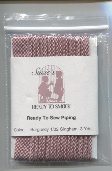 Susie's Ready to Sew Gingham piping in Burgundy