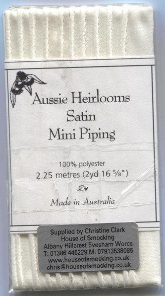 Aussie Heirloom Satin piping in Cream Matt