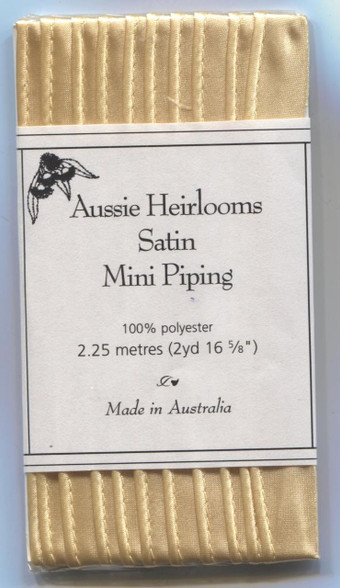 Aussie Heirloom Satin piping in Golden Maize