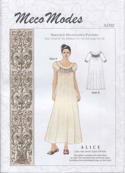 Alice Smocked Nightgown pattern by Meco Modes