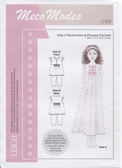 Leigh Girl's Smocked Nightgown & Pyjama pattern by Meco Modes